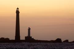 Lighthouses at dusk Royalty Free Stock Photos