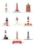 Lighthouses Flat design icons set 2 Royalty Free Stock Photos
