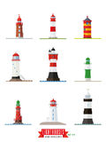 Lighthouses Flat design icons set Stock Photo