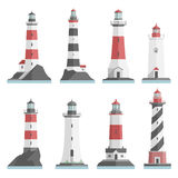 Lighthouses flat set Royalty Free Stock Images