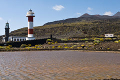 Lighthouses of Fuencaliente, Teneguia volcan, La P Stock Images