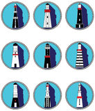 Lighthouses icons in knotted circles Royalty Free Stock Photography