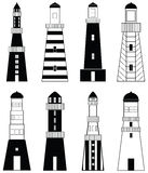 Lighthouses. Icons with vary stripes , shapes and windows elements in black and white design Royalty Free Stock Image