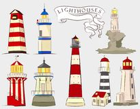 Lighthouses illustrations set. Eight type of ligthouses: wooden, stown, tower. royalty free illustration