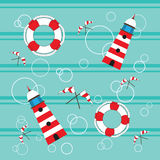 Lighthouses lifebuoy flags seamless Stock Photos