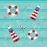 Lighthouses lifebuoy flags seamless. Vector pattern with lighthouses, lifebuoy and flags Stock Photos