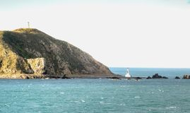 Lighthouses at Pencarrow Head. In the Wellington Region of New Zealand stock photo