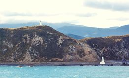 Lighthouses at Pencarrow Head. In the Wellington Region of New Zealand royalty free stock image