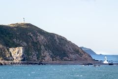 Lighthouses at Pencarrow Head. In the Wellington Region of New Zealand royalty free stock photography