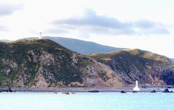 Lighthouses at Pencarrow Head. In the Wellington Region of New Zealand stock photography