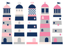 Lighthouses in pink, blue and grey colors. Vector set with lighthouses in pink, blue and grey colors Royalty Free Stock Photography