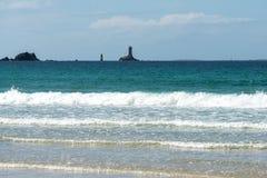 Lighthouses at Pointe du Raz (France) Stock Photo