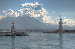 Lighthouses in the port of Alanya Royalty Free Stock Photos