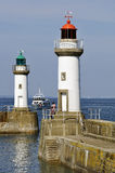 Lighthouses port of Le Palais at belle Ile in fran Stock Photography