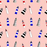 Lighthouses seamless pattern. Bright cartoon illustration for children`s greeting card design, fabric and wallpaper. vector illustration