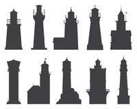 Lighthouses and Searchlights Icons Stock Photography