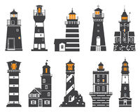 Lighthouses and Searchlights Icons Royalty Free Stock Photo