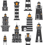 Lighthouses and Searchlights Icons Stock Image
