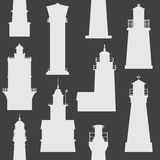 Lighthouses and Searchlights Icons Stock Images