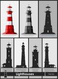 lighthouses Set ogromne latarnie morskie ilustracja wektor