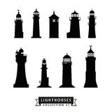 Lighthouses silhouette collection 1 Royalty Free Stock Image