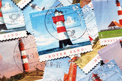 Lighthouses on stamps. Different lighthouses on postage stamps royalty free stock image