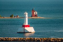 Lighthouses standing watch on the edge of Mackinac Island Michigan. During the summer royalty free stock photo