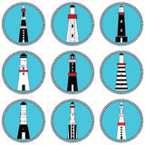 Lighthouses in vary shapes and styles collection set in nautical colors in knotted circle shape representing coastal  vintage arch Stock Image