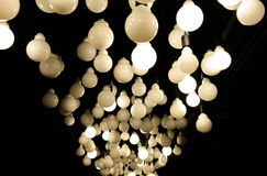 Lighting ball - Ceiling lamp. Lighting ball - lamps on the ceiling on the darkness Royalty Free Stock Images