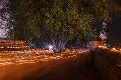 Lighting belief. Of  buddha festival Stock Photography