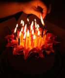 Lighting birthday candles. On flower shaped cake, dark room Royalty Free Stock Image
