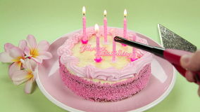 Lighting Birthday Candles Royalty Free Stock Photo