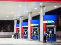 Lighting blur petrol gas station at night Royalty Free Stock Image