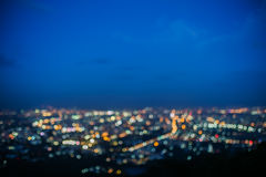 Lighting bokeh. Top view of Chiang Mai, Thailand royalty free stock photos