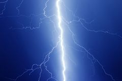Lighting Bolt. Rain, thunders and bolts in sky Royalty Free Stock Photos