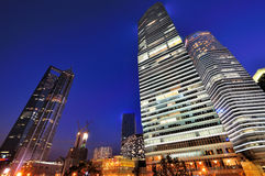 Lighting building Shanghai financial center, China. Night view of business tower as Shanghai new landmark, which is center of financial and trading of Shanghai Royalty Free Stock Photo