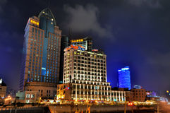 Lighting buildings in Shanghai night Stock Images