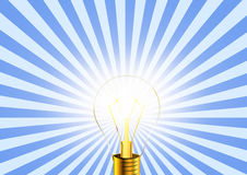 Lighting bulb idea icon on striped retro background. Conceptual illustration Stock Photo