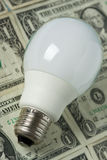 Lighting bulb with money on background Stock Image