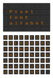 Lighting bulb pixel font alfabet vector illustration