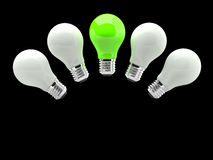 Lighting Bulb White and Green Royalty Free Stock Images