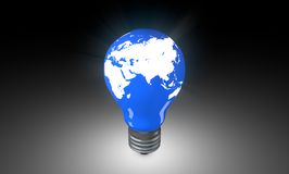 Lighting Bulb with world map. Stock Image