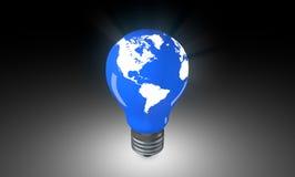 Lighting Bulb with world map. Stock Photos