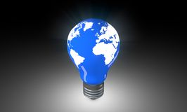 Lighting Bulb with world map. Stock Photos
