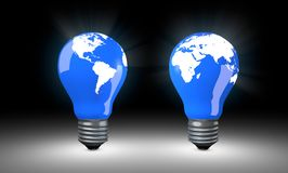 Lighting Bulbs with world map. Stock Photo