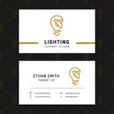 Lighting business card template, lamp shop layout, electricals factory Royalty Free Stock Image