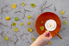 Lighting a candle for cozy autumn mood Stock Photography