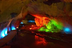 Lighting cave. Magic Landscape of the cave shined by color lighting effect,Phanang-Koi cave Thailand Stock Photos