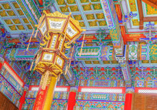 Lighting Ceiling chinese temple at Wat Leng Noei Yi in Nonthaburi,Thailand stock photos