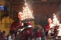 Religious ceremony. Whereby lights are waved sideways in Varanasi India Stock Photos